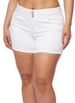 Plus Size Wax Jean Three Button Push Up Shorts - WHITE - 3871071610071