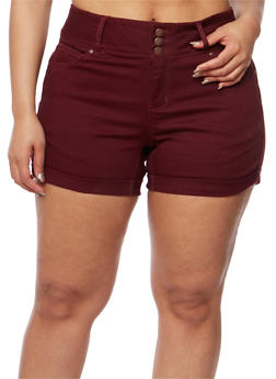 Plus Size Wax Jean Three Button Push Up Shorts - BURGUNDY - 3871071610071