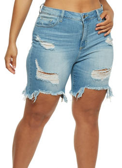 Plus Size Cello Destroyed Denim Bermuda Shorts - 3872063156525