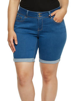 Plus Size Wax Denim Bermuda Shorts - 3872071610062