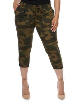Plus Size Camouflage Capri Joggers - 3873062708098
