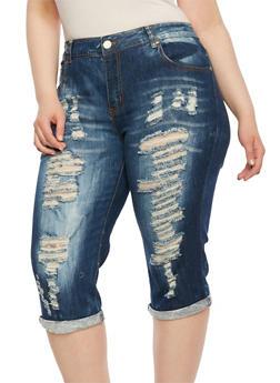Plus Size VIP Distressed Capri Jeans - 3873065307191