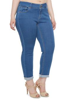 Plus Size WAX Cropped Jeans - 3873071610030