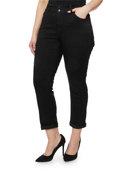 Plus Size WAX Two Button Cuffed Jeans - 3873071610031