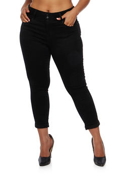 Plus Size Wax 3 Button Cropped Jeans - 3873071610069