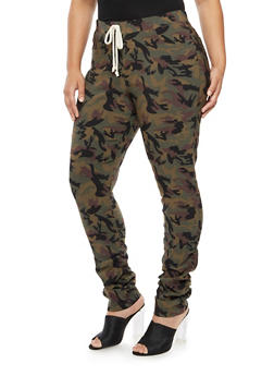 Plus Size Camo Ruched Joggers - 3874056570087