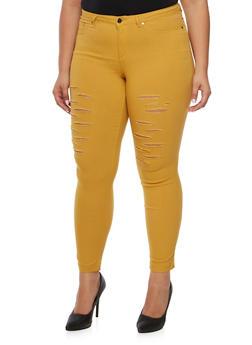 Plus Size Stretch Pants with Slash Cuts - 3874056570171