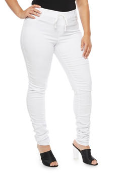 Plus Size Ruched Skinny Pull On Pants - WHITE - 3874056570876