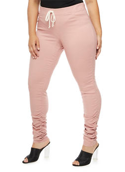 Plus Size Ruched Skinny Pull On Pants - 3874056570876