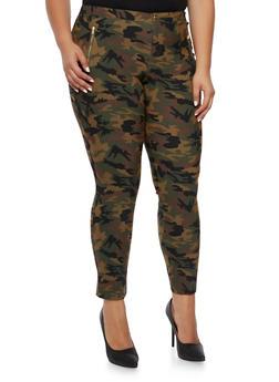 Plus Size Stretch Skinny Pants in Camo - 3874056571112