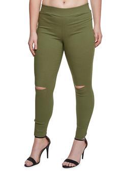 Plus Size Stretch Pants with Slash Cut Knees - 3874056572085