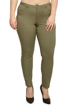 Plus Size Skinny Stretch Pants - 3874056572123