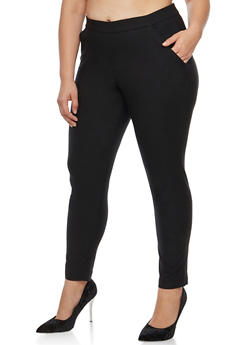 Plus Size Solid Stretch Pants - 3874056572216