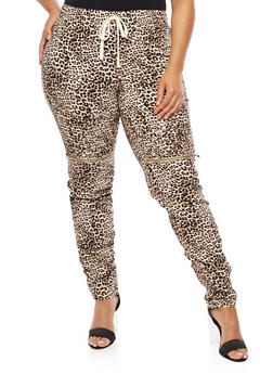 Plus Size Ruched Leopard Zip Moto Pants - 3874056572246