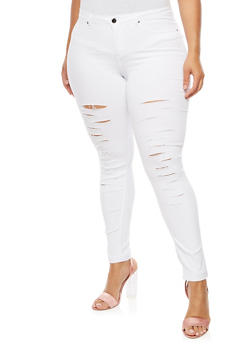 Plus Size Slashed Pants - WHITE - 3874056573817