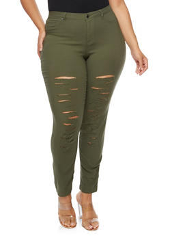 Plus Size Slashed Pants - 3874056573817