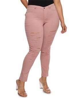 Plus Size Slashed Pants - 3874056573817
