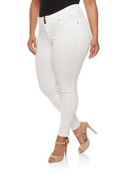 Plus Size Three Button Stretch Twill Pants - WHITE - 3874056574100