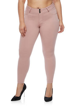 Plus Size Three Button Stretch Twill Pants - 3874056574100