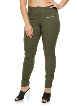Plus Size Ruched Moto Jeggings - OLIVE - 3874056574105