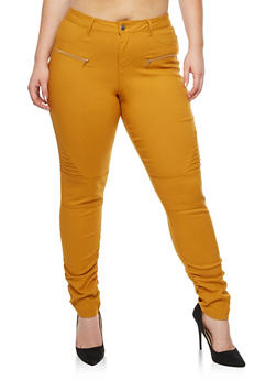 Plus Size Ruched Moto Jeggings - 3874056574105