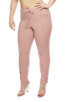 Plus Size Pintuck Jeggings - 3874056574111