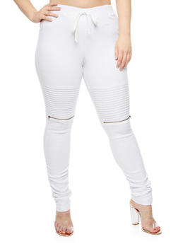 Plus Size Ruched Moto Jeggings - WHITE - 3874056579121