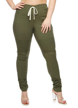 Plus Size Ruched Moto Jeggings - OLIVE - 3874056579121