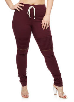 Plus Size Ruched Moto Jeggings - 3874056579121
