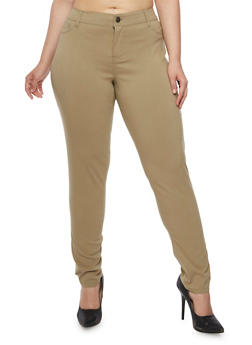 Plus Size High Waisted Stretch Pants - 3874060584673