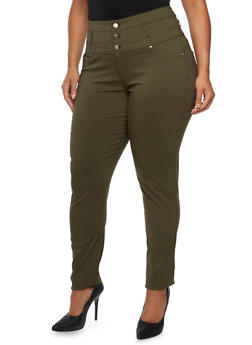 Plus Size High Waisted Stretch Pants - 3874060584737