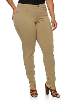 Plus Size Push Up Twill Pants - 3874060584907