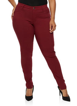 Plus Size Push Up Twill Pants - 3874060584907