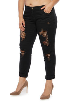 Plus Size Ripped Jeans - 3874061651605