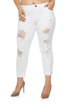 Plus Size Ripped Jeans - WHITE - 3874061651605