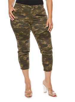 Plus Size Camouflage Cropped Moto Jeans - 3874061652080