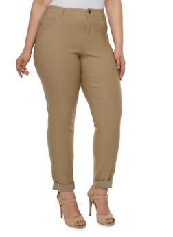 Plus Size Stretch Jeans with Tonal Stitching - 3874061654198