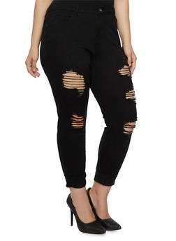 Plus Size Distressed Skinny Pants - 3874061656058