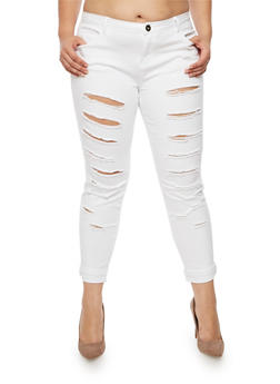 Plus Size Ripped Jeans - WHITE - 3874061656059