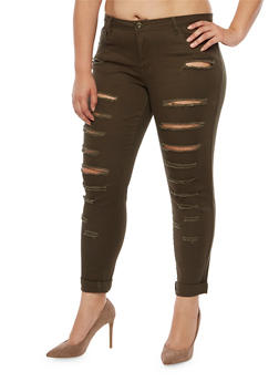 Plus Size Ripped Jeans - 3874061656059