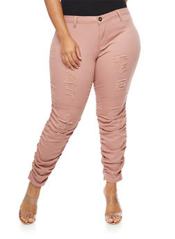 Plus Size Frayed Ruched Jeans - 3874061657067
