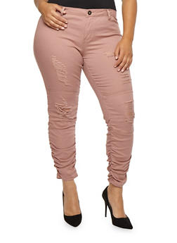 Plus Size Frayed Ruched Jeans - BLUSH - 3874061657067