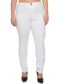 Plus Size Solid Pants - 3874061658818