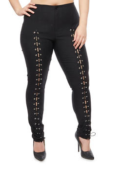 Plus Size Front Lace Up Pants - 3874062701578