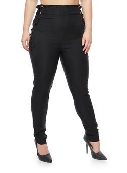 Plus Size Lace Up Dress Pants - 3874062709943