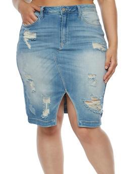 Plus Size Distressed Denim Skirt - 3875063154636