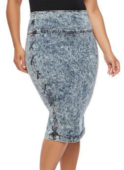 Plus Size Lace Up Acid Wash Denim Skirt - 3875072291111