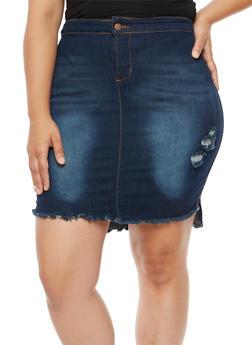 Plus Size Frayed High Low Denim Skirt - 3875072292222