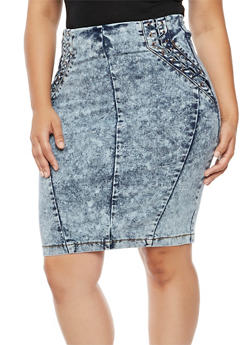 Plus Size Lace Up Acid Wash Denim Skirt - 3875072292591