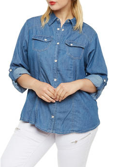 Plus Size Denim Button-Up Top with Button-Cuff Sleeves - 3876051060885